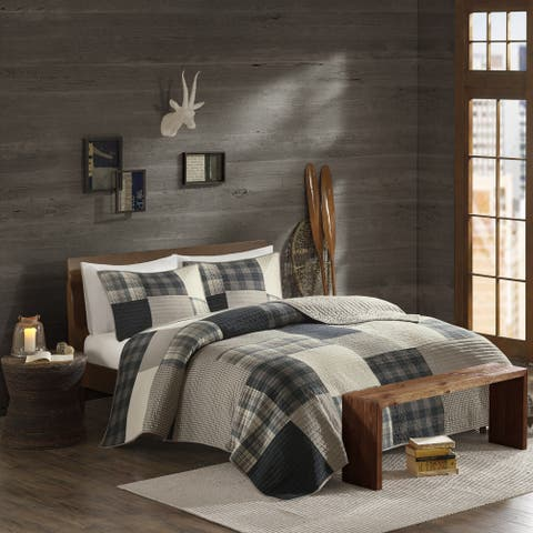 Woolrich Winter Hills Tan Cotton Printed Pieced Quilt Set
