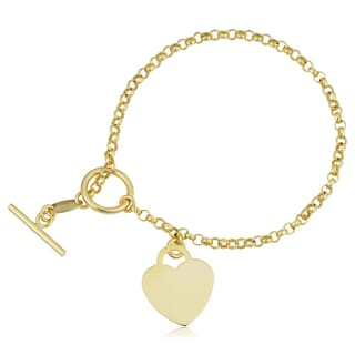 Fremada 10k Yellow Gold Heart Toggle Bracelet (7.25 inches)