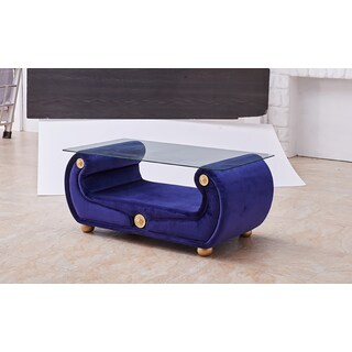 Luca Home Blue Fabric Coffee Table