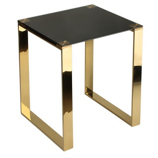 Cortesi Home Remini Black/Goldtone Tempered Glass/Metal End Table