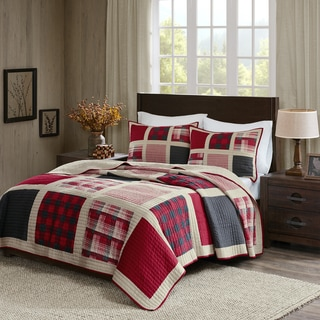 woolrich huntington cotton printed pieced quilt mini set option red