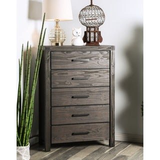 Furniture of America Barrison Transitional Dark Grey Wire-Brushed 5-drawer Chest