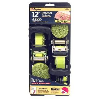 """Allied International 84004 1-1/4"""" X 12' Neon Green Ratchet Tie Down 2-ct"""