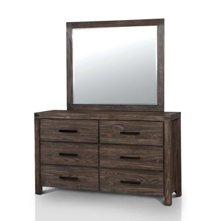 Furniture of America Barrison Transitional 2-piece Dark Grey Wire-Brushed Dresser and Mirror Set