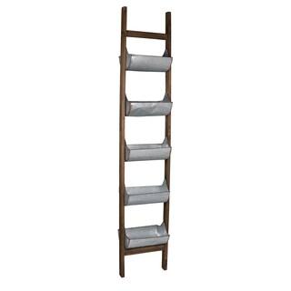 Silvertone Metal/Wood Ladder Planter