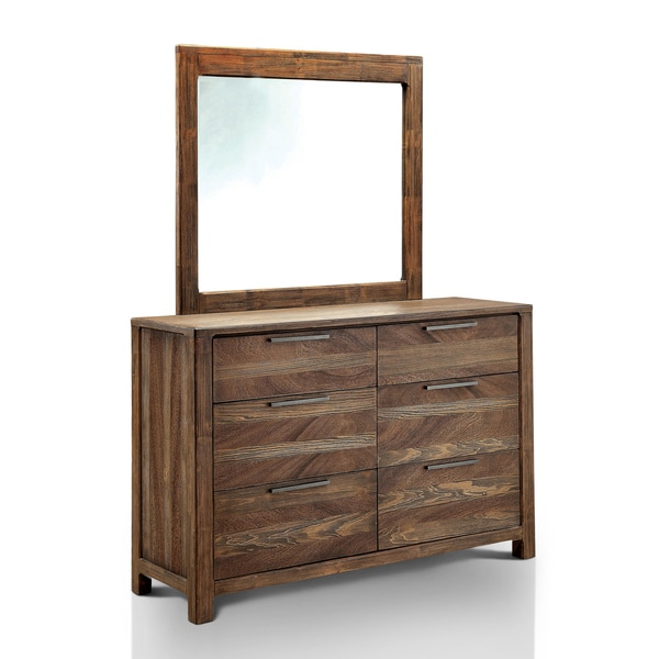 Furniture Of America Amber Contemporary 2 Piece Rustic Dresser And Mirror  Set