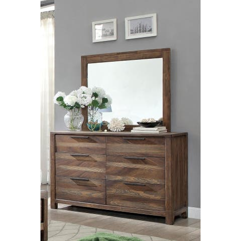 Furniture of America Lome Modern Brown 2-piece Dresser and Mirror Set