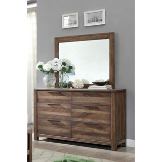 Furniture of America Amber Contemporary 2-piece Rustic Dresser and Mirror Set