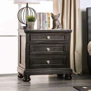 Furniture of America Tays Transitional Black Solid Wood Nightstand