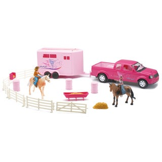 New-Ray Pink Pick Up Truck and Trailer Horse Set