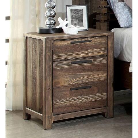 Furniture of America Lome Rustic Brown Solid Wood Nightstand