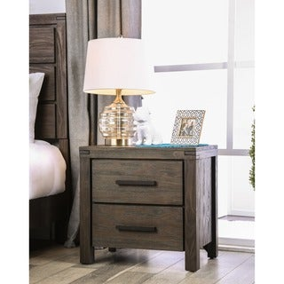 Furniture of America Barrison Transitional Dark Grey Wire-Brushed 2-drawer Nightstand