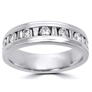 Noori 14k White Gold 1 1/4ct TDW Round-cut Diamond Men's Wedding Band