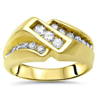 Noori 14k Yellow Gold 3/4ct TDW Round-cut Diamond Men's Ring Band
