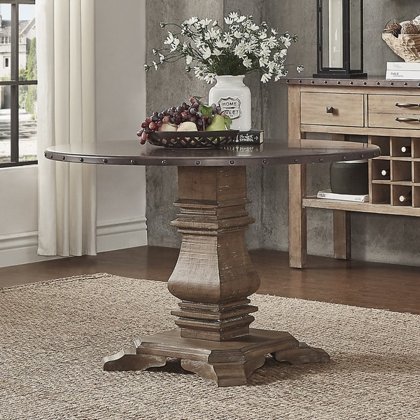 Voyager Wood And Zinc Barade 45 Inch Round Dining Table By Inspire Q