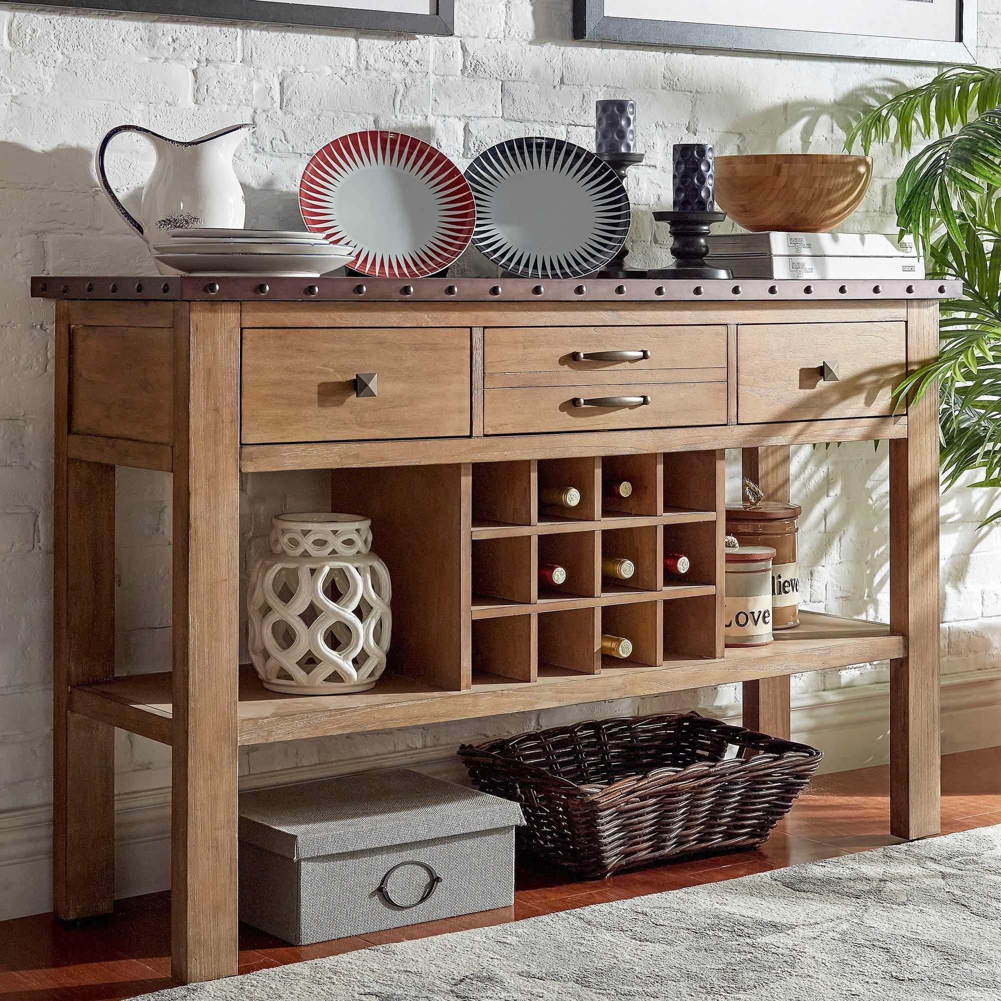 Voyager Wood and Zinc Balustrade Console Buffet Server by...