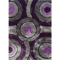 Modern Purple Silver Grey and Black Circular Design Hand-tufted Shag Area Rug - 5' x 7'