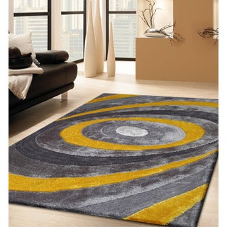 Modern Yellow/Grey/Silver Polyester Hand-tufted Shag Area Rug (5' x 7')
