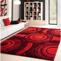 Red/Burgundy/Black Sythentic Hand-tufted Circle Design Shag Area Rug - 5' x 7'