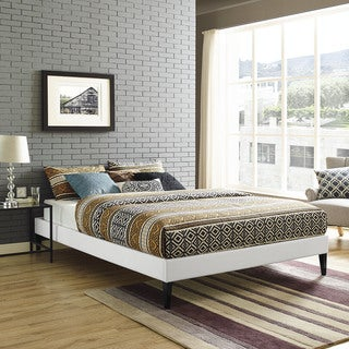 Modway Sharon White Vinyl Queen Bed with Squared Tapered Legs