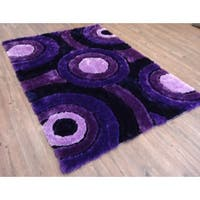 Modern Lavender Purple and Black Vibrant Circles Hand-tufted Shag Area Rug - 5' x 7'