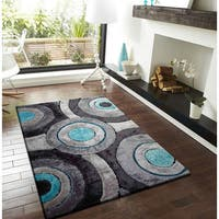 Silver, Gray, Turquoise, and Black Circular Modern Hand-tufted Shag Area Rug - 5' x 7'