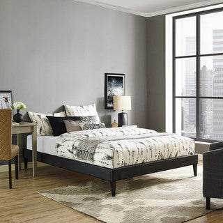 Modway Sharon Black Vinyl Queen Bed with Squared Tapered Legs