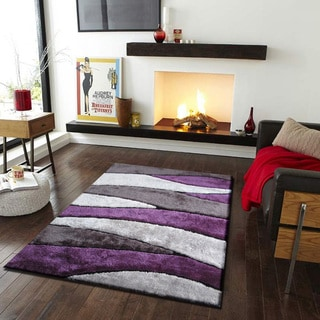 Vibrant Spike Black/Grey/Purple/Silver Polyester Hand-tufted Shag Area Rug (5' x 7')