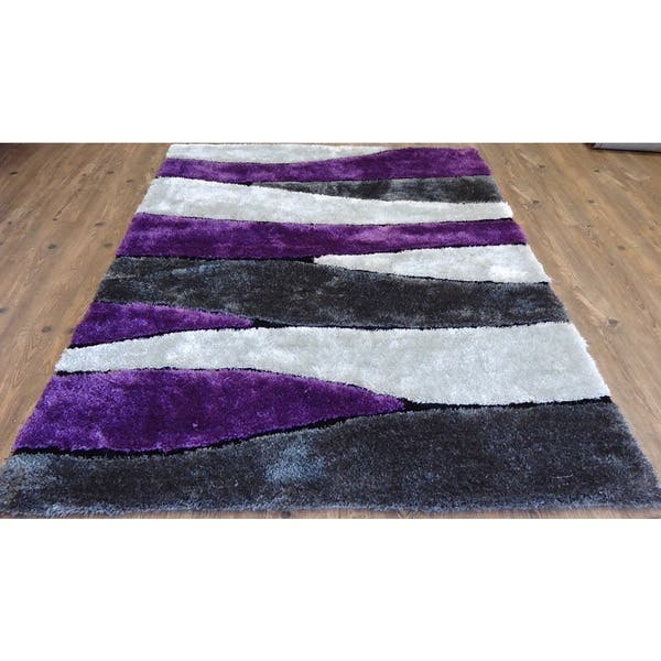 Vibrant Spike Black Grey Purple Silver Polyester Hand Tufted Shag Area Rug 5 X 7 Overstock 12611664