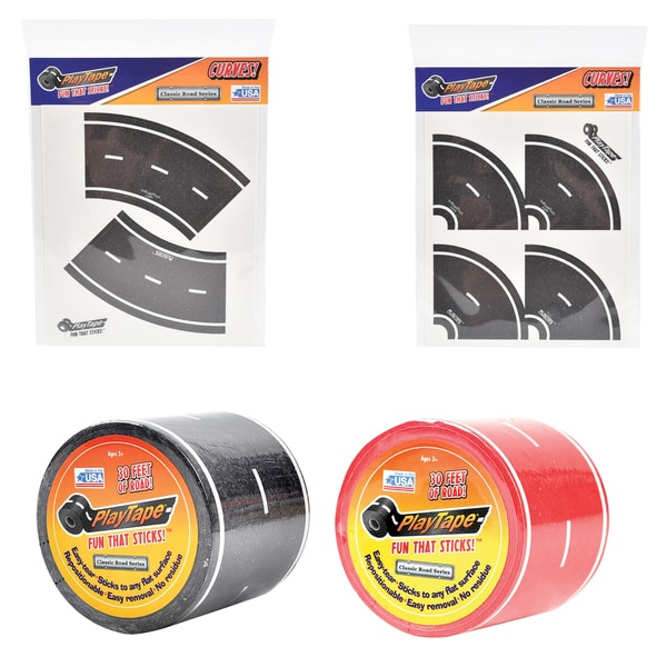 PlayTape Classic Road Series Bundle 30 ft. x 2 in. Black and Red Road with 8 Tight Curves and 4 Broad Curves