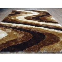 Vibrant Waves Modern Design Brown/Beige Polyester Hand-tufted Shag Area Rug - 5' x 7'