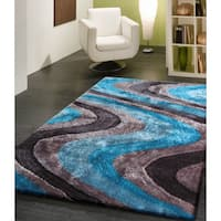 Vibrant Waves Turquoise Gray and SIlver Hand-tufted Shag Area Rug - 5' x 7'