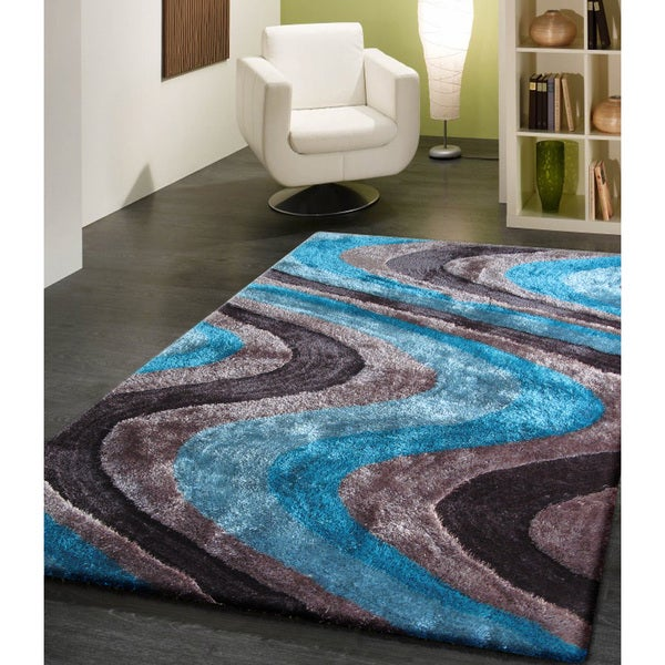shop vibrant waves turquoise gray and silver hand tufted shag area rug 5 39 x 7 39 on sale. Black Bedroom Furniture Sets. Home Design Ideas