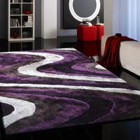 Vibrant Spike Purple/Silver/Gray/Black Hand-tufted Shag Area Rug - 5' x 7'