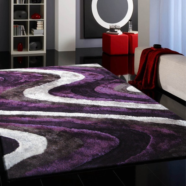 Shop Vibrant Spike Purple Silver Gray Black Hand Tufted Shag Area