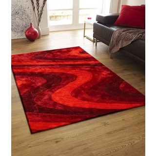 Vibrant Red Waves Modern Red Polyester Hand-tufted Shag Area Rug (5' x 7')