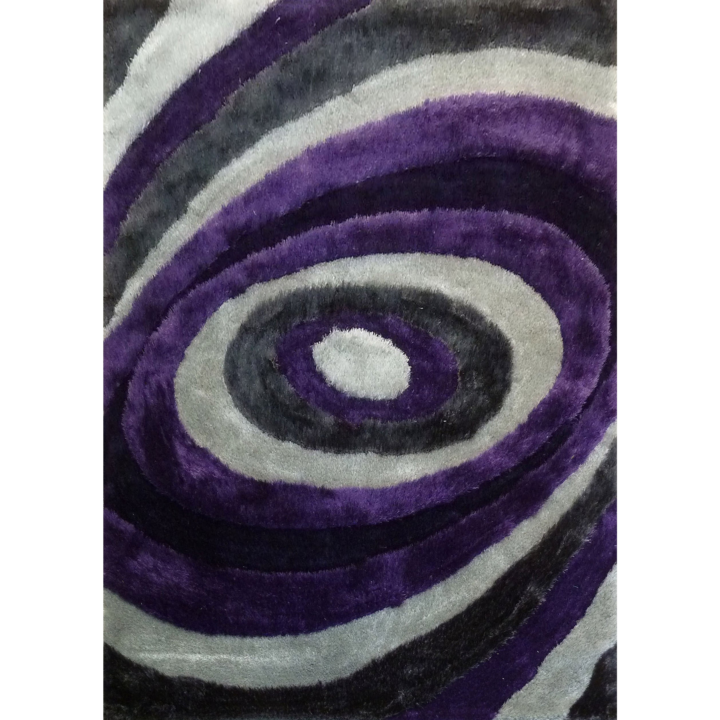 Modern Spiral Designed Purple/Silver/Gray/Black Polyester...