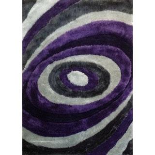 modern spiral designed polyester handtufted shag area