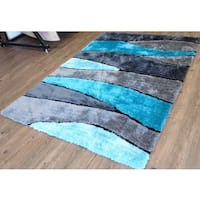 Grey/Black/Silver Wool Hand-tufted Polyester Rug - 5' x 7'