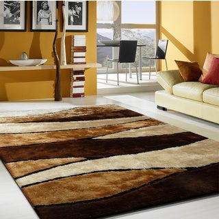 Brown Polyester Modern Hand-tufted Area Rug (5' x 7')