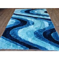 Vibrant Waves Hand-tufted Turquoise Blue and Navy Blue Shag Area Rug - 5' x 7'