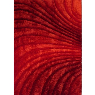 Modern 3D Zen-design Crimson Red Hand-tufted Polyester Rectangular Shag Area Rug (5' x 7')