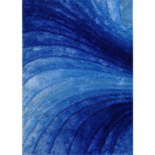 Shop Waves Of Zen Blue With Silver Hand Tufted Modern 3d