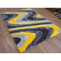 Vibrant Waves of Blue Modern Yellow/Grey/Silver Polyester Hand-tufted Shag Area Rug - 5' x 7'