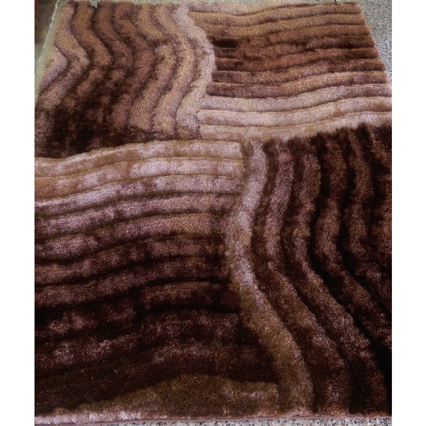 Shop 3d Ripples Zen Hand Tufted Brown Beige Shag Area Rug