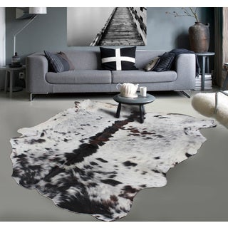 Brown White Black 100-percent Argentinean Cow Hide Area Rug - 5' x 7'