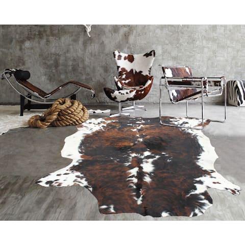 Premium White/Black/Brown 100-percent Argentinean Natural Cow Hide Rug - 5' x 7'