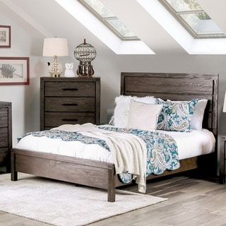 Furniture of America Barrison Transitional Rustic Dark Grey Wire-Brushed Panel Bed