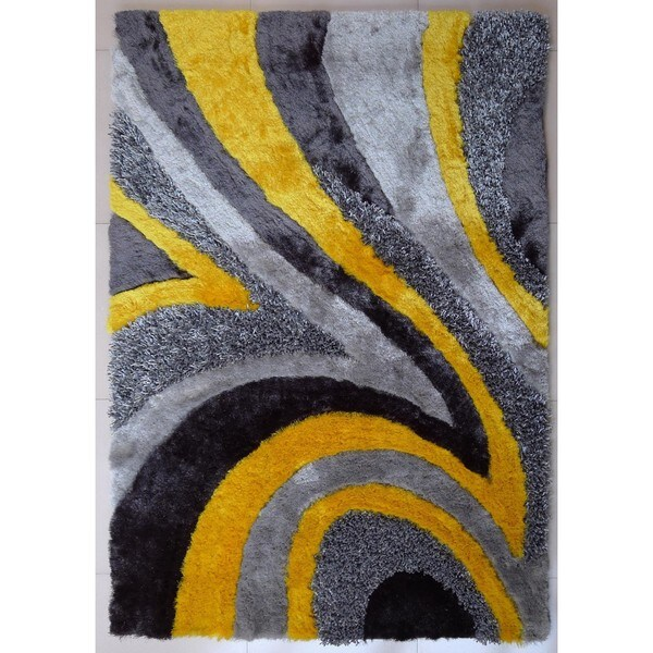 Shop Vibrant Abstract Wave Design Grey Yellow Silver