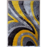 Vibrant Abstract Wave-design Grey/Yellow/Silver Polyster Shaggy Runner Rug - 2' x 7'5""
